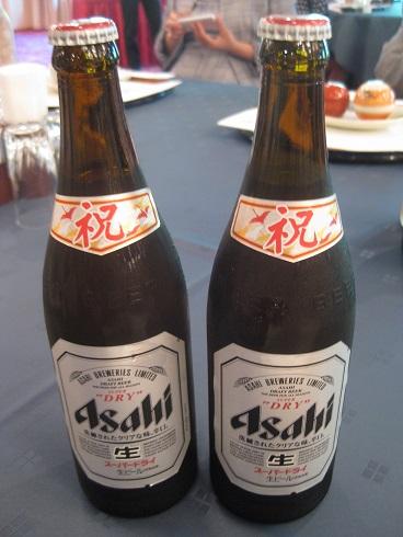 祝いのビール